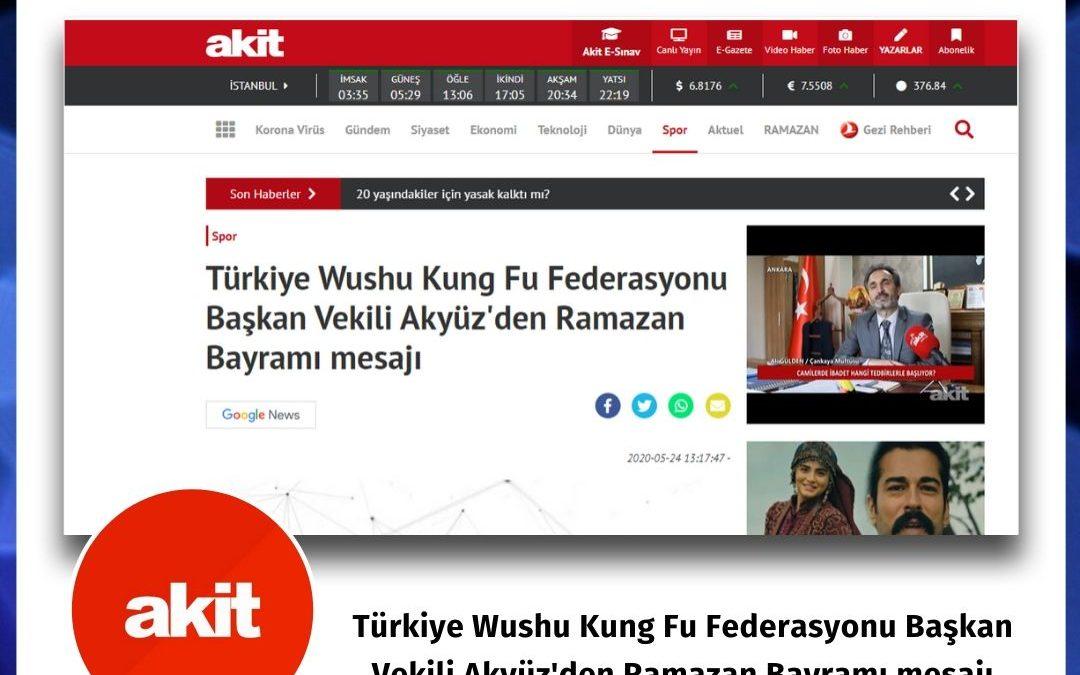 Akit: Türkiye Wushu Kung Fu Federasyonu Başkan Vekili Akyüz'den Ramazan Bayramı mesajı