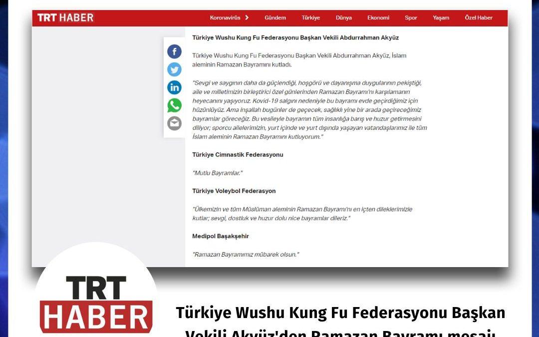TRT Haber: Spor camiasından bayram mesajları