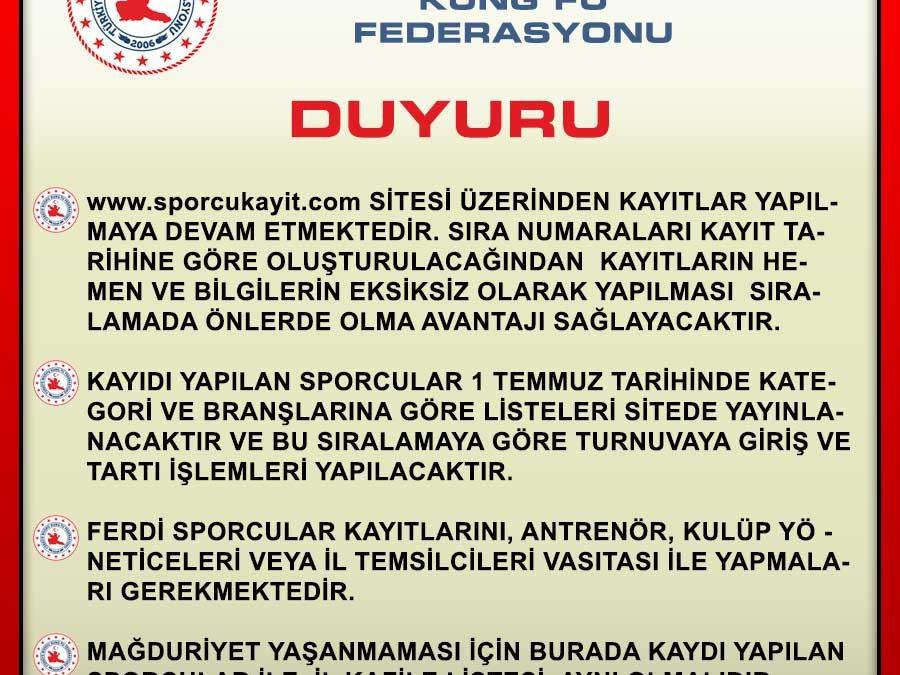 📢Önemli Duyuru / Türkiye Wushu Şampiyonası 2021